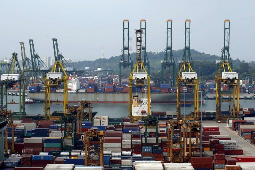 A general view of a container terminal in Singapore. PHOTO: REUTERS