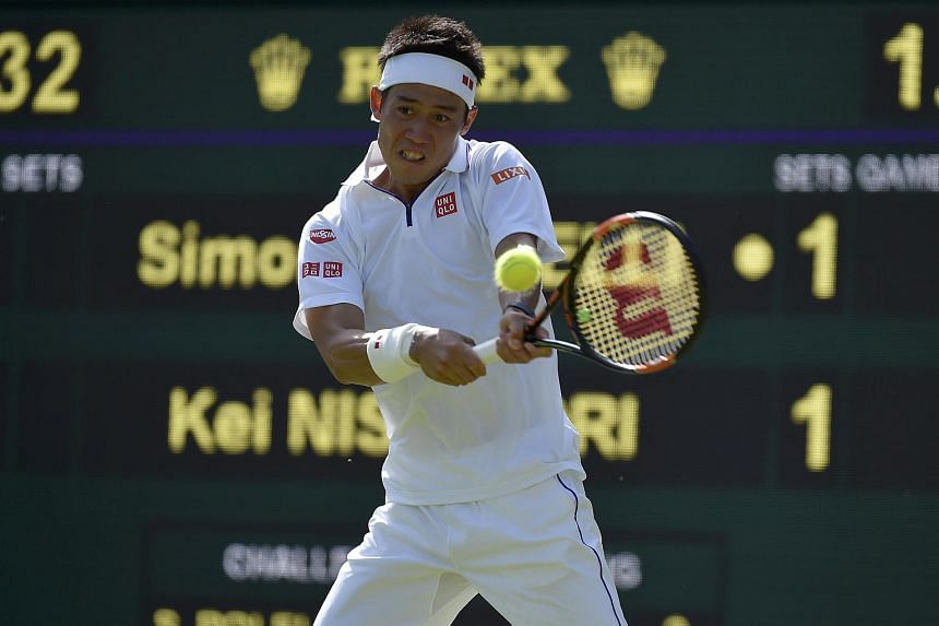 Japan's Kei Nishikori at the Wimbledon Tennis Championships in London on June 29.