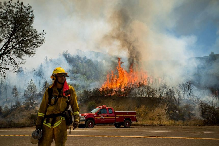 Flames from a backfire rise above Highway 20 as the Rocky burns near Clearlake, California.