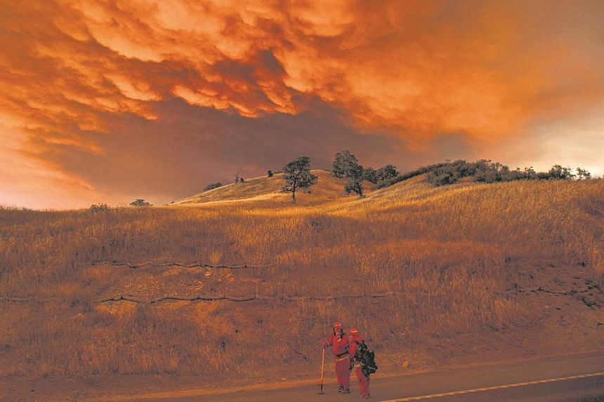 Firefighters monitor the Rocky fire near Clearlake, California.