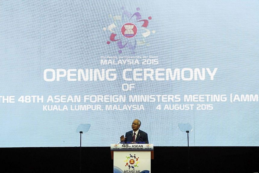 Najib addresses the delegates during opening ceremony of the 48th ASEAN Foreign Ministers Meeting at the Putra World Trade Centre in Kuala Lumpur, Malaysia on August 4, 2015.