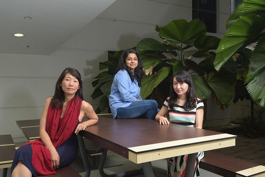 (From left) Canadian novelist Madeleine Thien, poet Pooja Nansi and author Yeo Wei Wei.