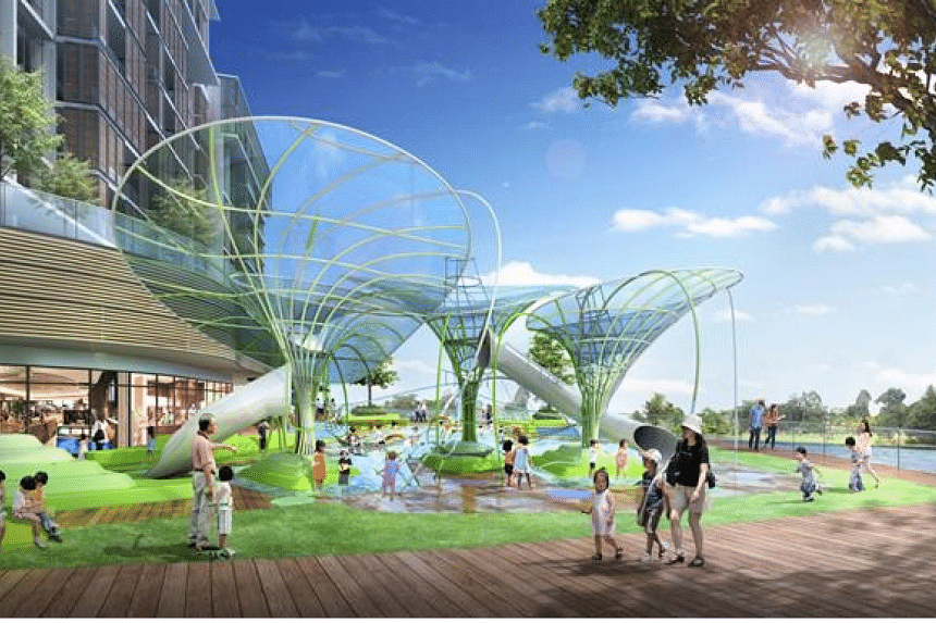 An artist's impression of the Level 2, Waterway Point's Outdoor Wet and Dry Playground.