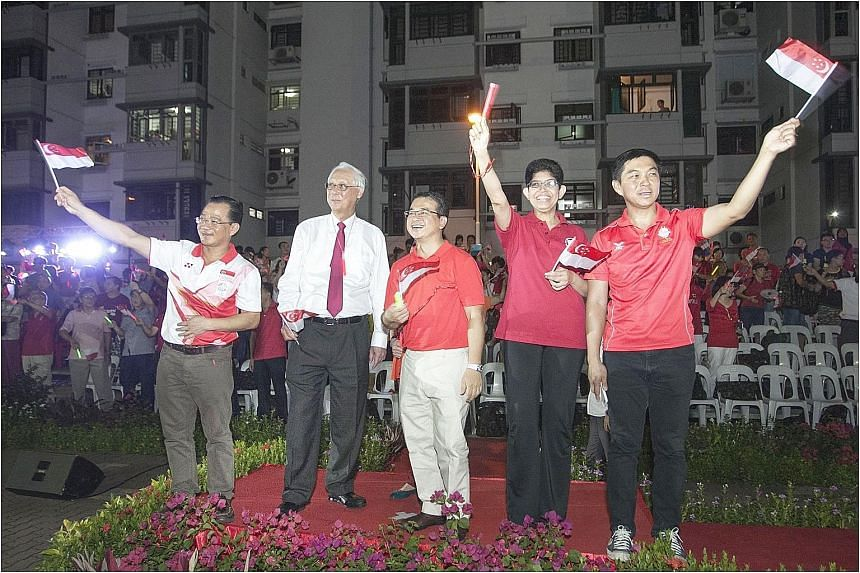 """ESM Goh Chok Tong (second from left) said on his Facebook page yesterday that the """"likely"""" Marine Parade GRC team for the next election will include (from left) Mr Seah Kian Peng, Mr Goh, Mr Edwin Tong, Associate Professor Fatimah Lateef, and Ministe"""
