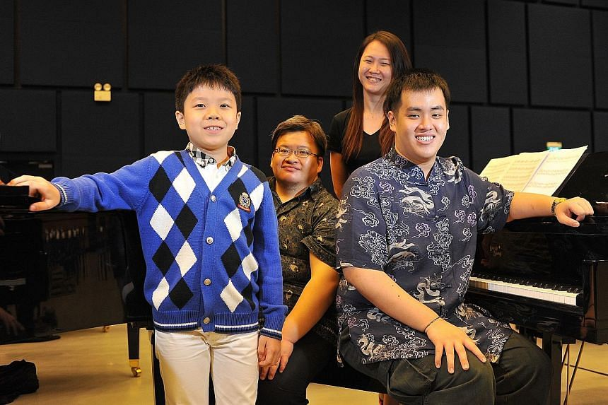 Among the 50 pianists who will perform at the Sing50 concert are (above from left) Isaiah Hui, Joseph Frederic, Elizabeth Ho and Clarence Lee.