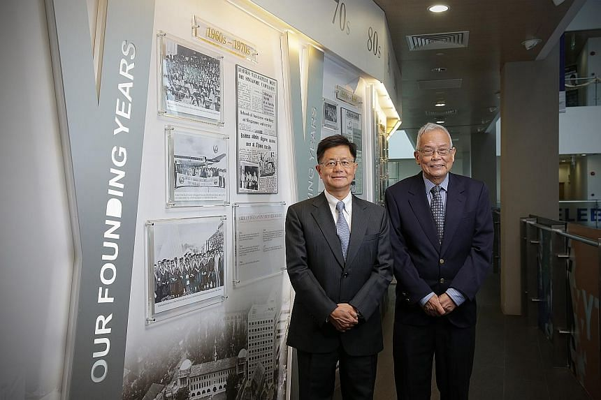 Professor Bernard Yeung (left), the current dean of NUS Business School, with Dr Lee Soo Ann, 76, who served as the business school's head from 1979 to 1985. Every head of the school has had an Asian connection.