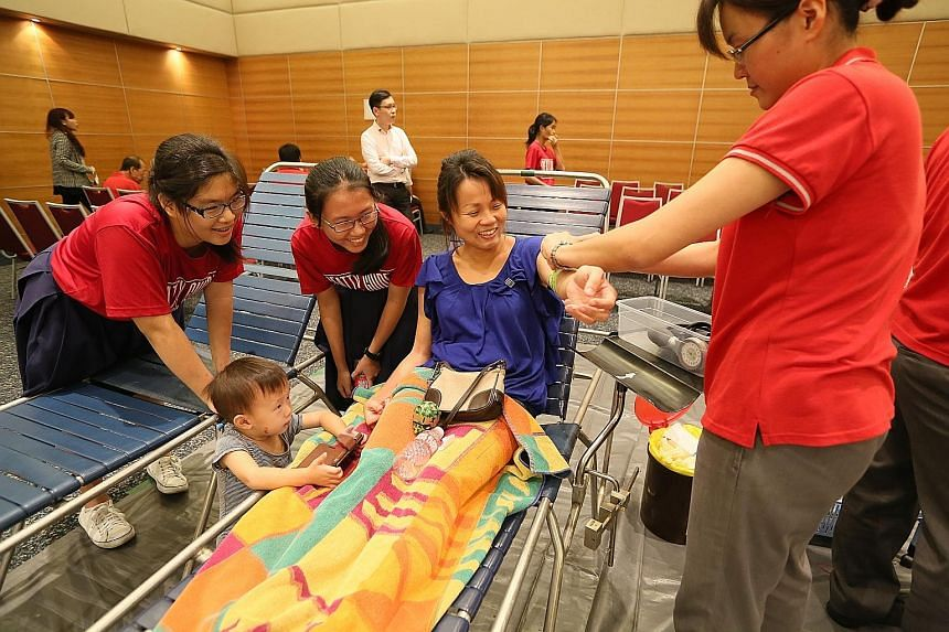 About 200 people, including SPH staff and members of the public, turned up to give blood at the media group's twice- yearly donation drive yesterday. The drive collected more than 60 litres of blood.