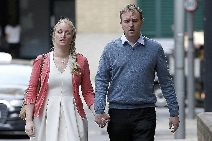 Tom Hayes arriving at Southwark Crown Court with his wife, Sarah. The 35-year-old former trader was sentenced to 14 years in jail after being found guilty of conspiring to rig Libor benchmark rates.