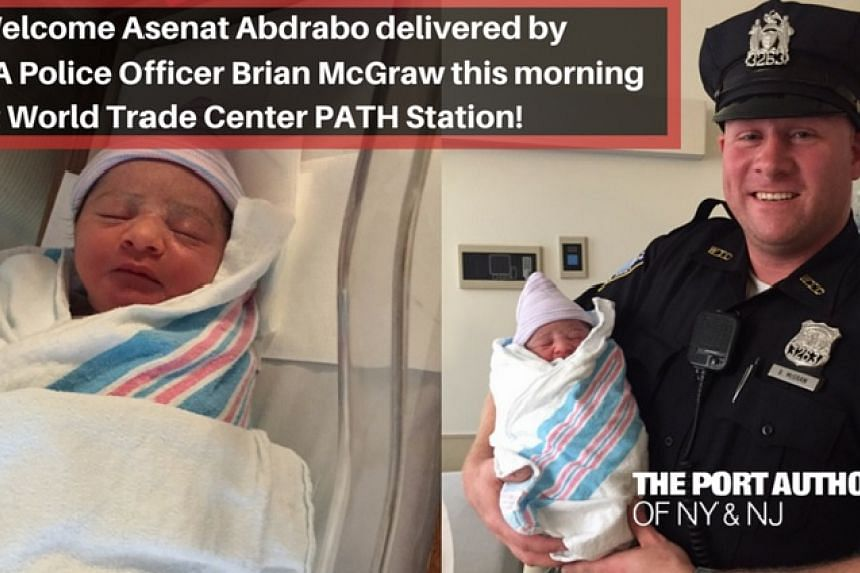 Baby Asenat was delivered by Officer Brian McGraw on the mezzanine concourse of the station.