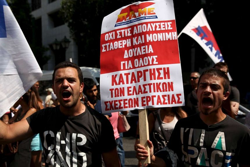 Anti-austerity protesters in Athens on Aug 5, 2015.