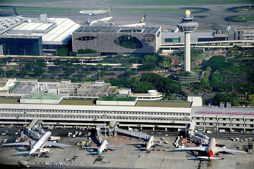 Aerial view of Changi Airport in April 2014.
