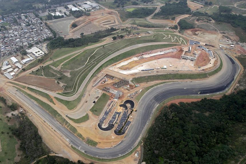 An aerial view of the X-Park construction site at Deodoro Sports Complex in Rio de Janeiro, Brazil.