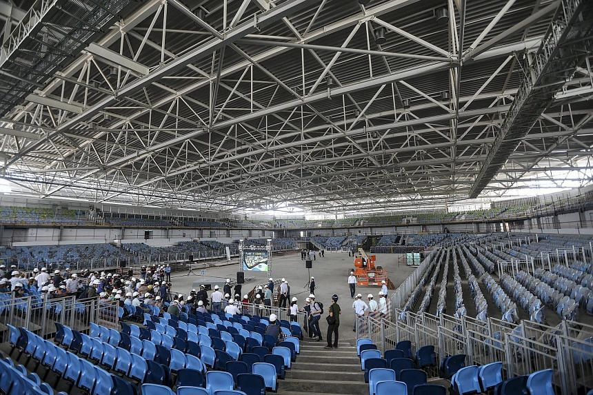 General view of the arena where the fencing and taekwondo competitions will be held at the Rio Olympics 2016, in Rio de Janeiro, Brazil.