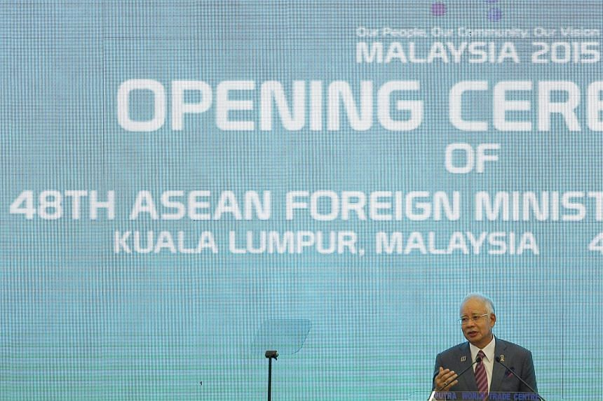 Malaysia PM Najib Razak giving a speech during the opening ceremony of 48th Asean foreign ministers meeting in Kuala Lumpur.