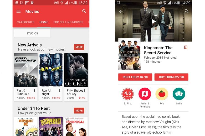 Among the R21 films that can be found on Google Play are the controversial bondage film Fifty Shades Of Grey (left), The Boy Next Door, A Clockwork Orange, and Fear And Loathing In Las Vegas. Blockbusters such as Fast And Furious 7 and Kingsman: The
