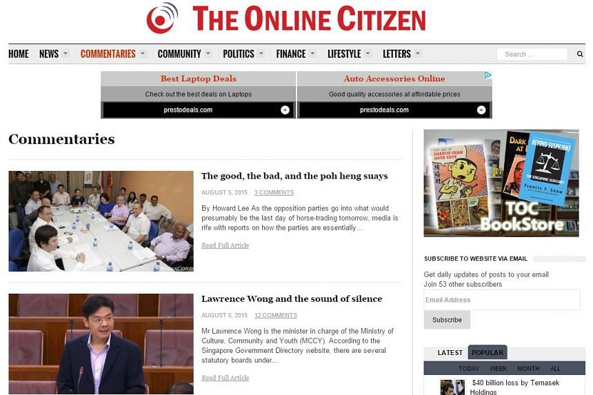 The Attorney-General's Chambers (AGC) has issued a take-down notice to Socio-political blog The Online Citizen (TOC) for an article posted on its website.