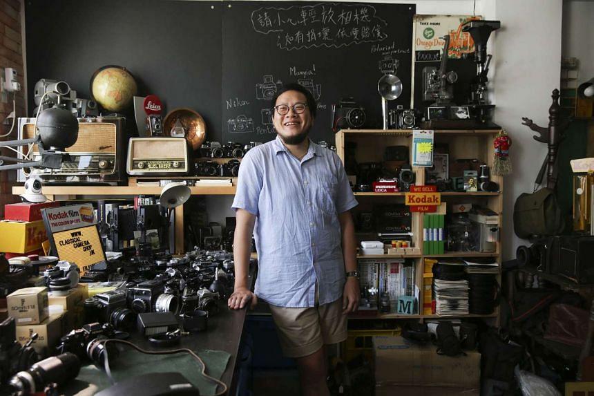 Mr Lai Chun-fai, who runs a classic camera shop in Hong Kong's Prince Edward district.