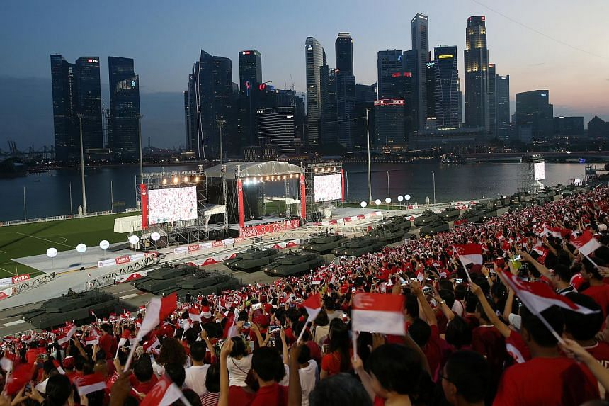The crowd during the NDP Preview, which was held at the Floating Platform at Marina Bay on Aug 1, 2015.