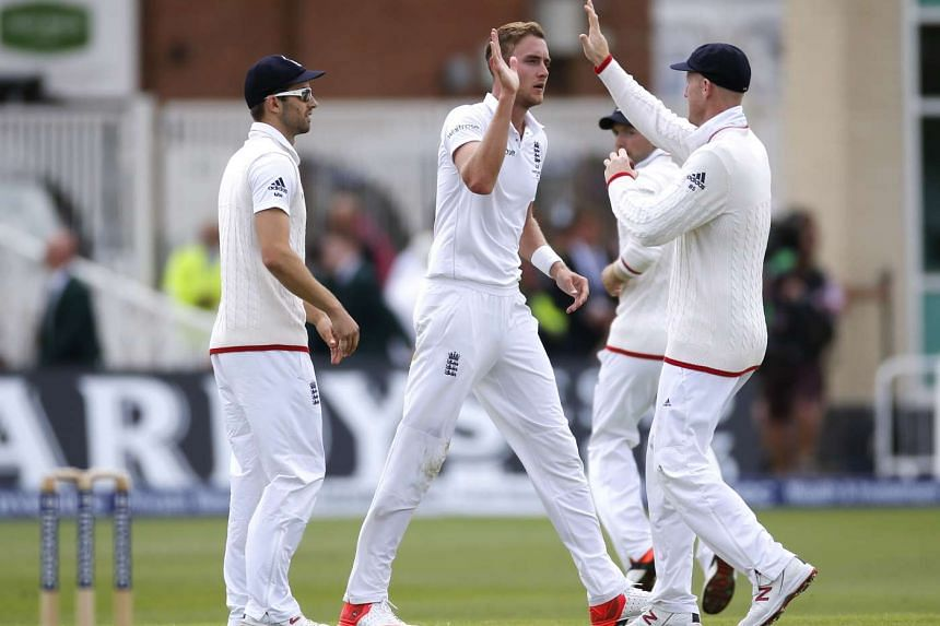 England's Stuart Broad celebrates after taking the wicket of Australia's Nathan Lyon on the first day of the Investec Ashes Test Series Fourth Test at Trent Bridge, on Aug 6, 2015.
