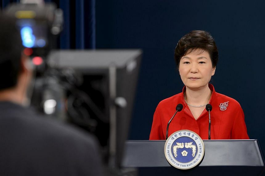 President Park Geun-hye delivers a speech at the presidential Blue House in Seoul on Aug 6, 2015.