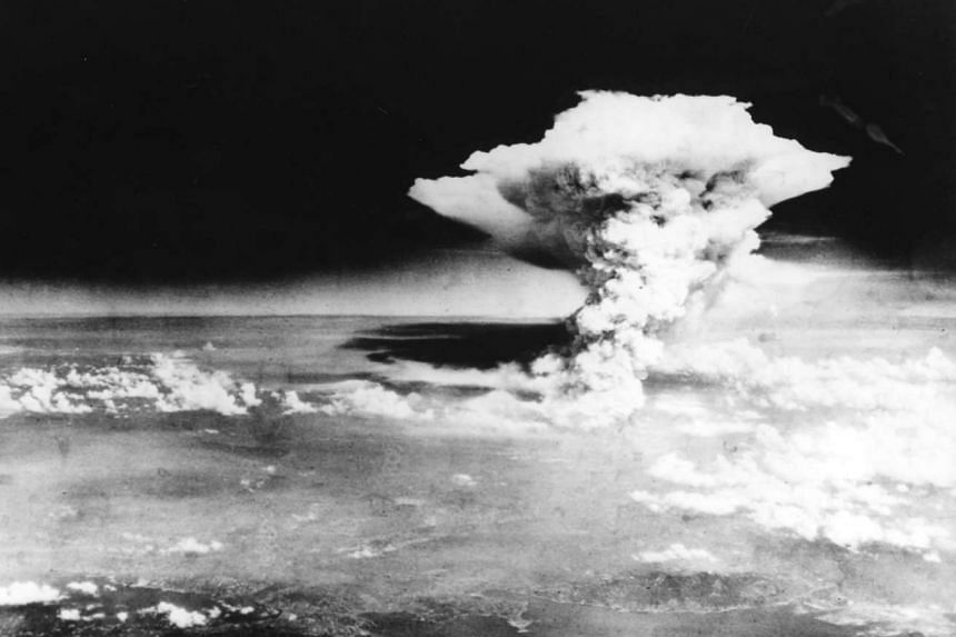The mushroom cloud of the atomic bomb dropped by B-29 bomber Enola Gay over Hiroshima on Aug 6, 1945.