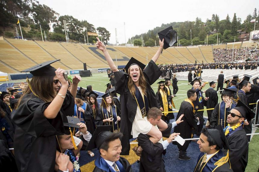 Graduates arrive for commencement at University of California, Berkeley in Berkeley on May 16, 2015.