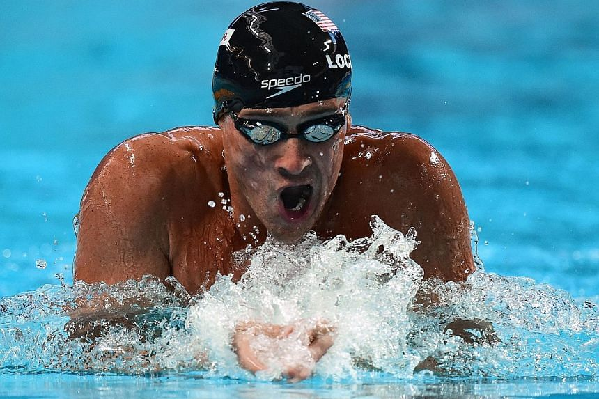 American medley king Ryan Lochte in the breaststroke leg on his way to the 200m IM title. He was the three-time defending champion in the event, having won in Rome, Shanghai and Barcelona.