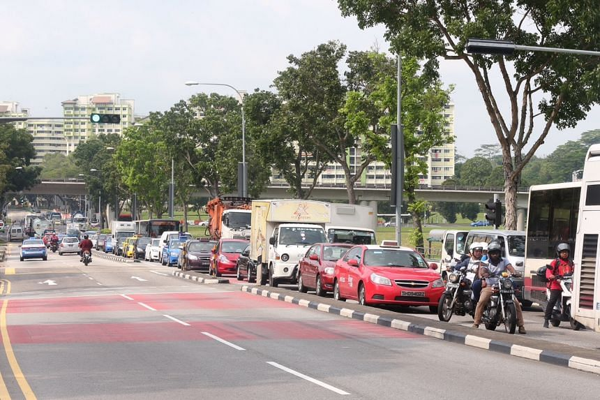 Heavy traffic at the Causeway for vehicles heading into Malaysia from Singapore, as seen along Woodlands Centre Road.