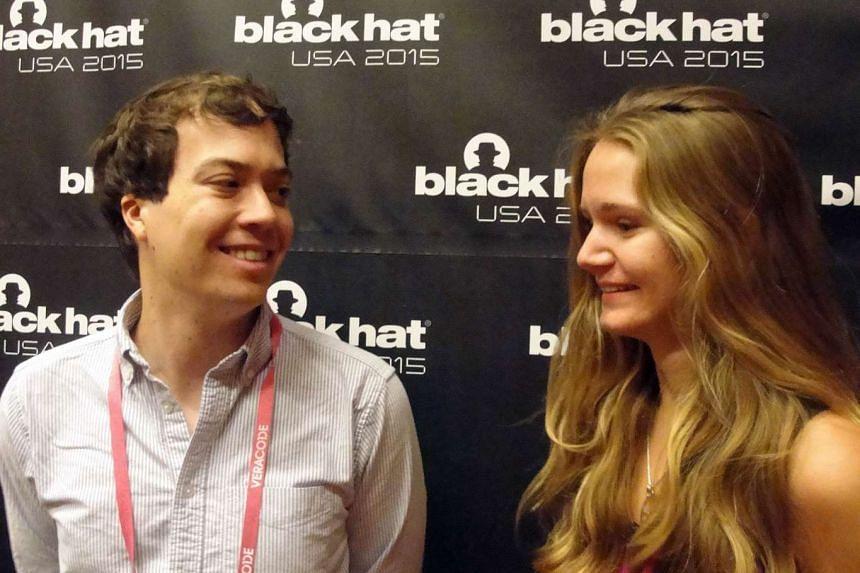 John Moore and Alexandrea Mellen at the Black Hack computer security conference.