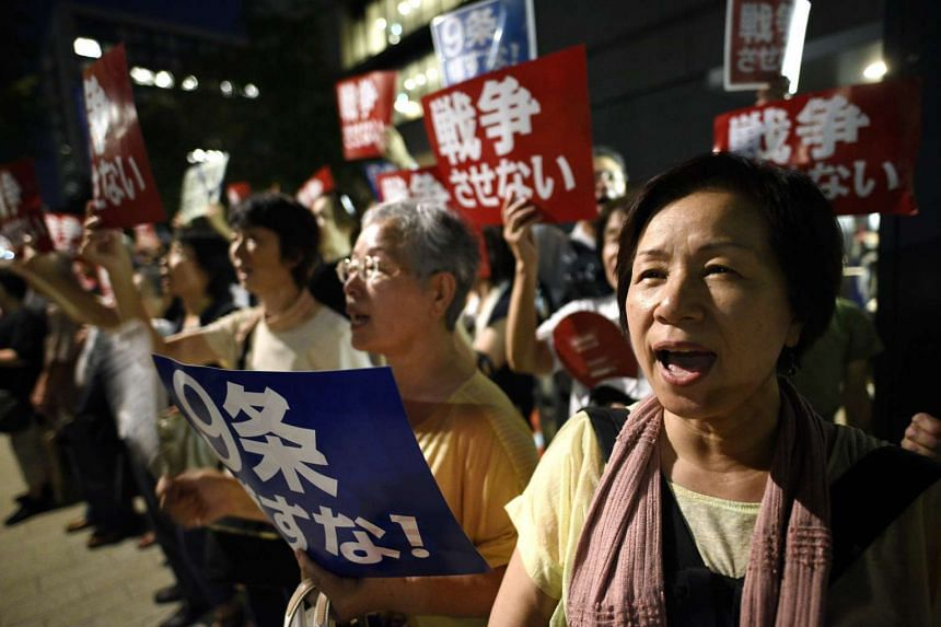 Demonstrators protesting against Japan's controversial security bills in Tokyo on Aug 6, the 70th anniversary of the atomic bombing on Hiroshima.