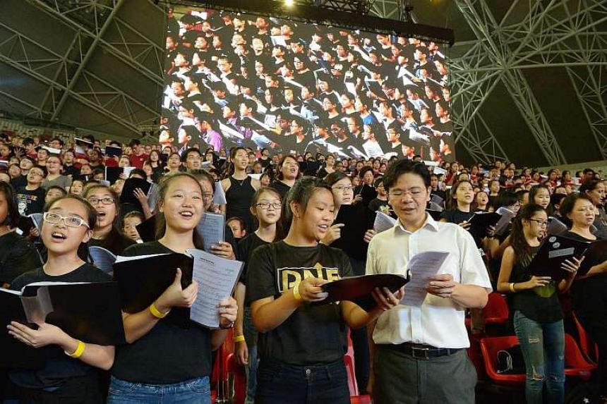 Mr Lawrence Wong made an impromptu decision to sing with the choir members on Thursday night during rehearsals for the Sing50 concert.