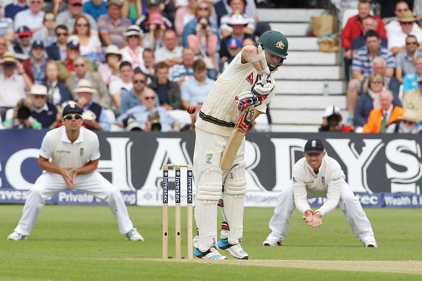 Australia's Chris Rogers (centre) during the fourth Ashes cricket Test match between England and Australia on Aug 7, 2015.
