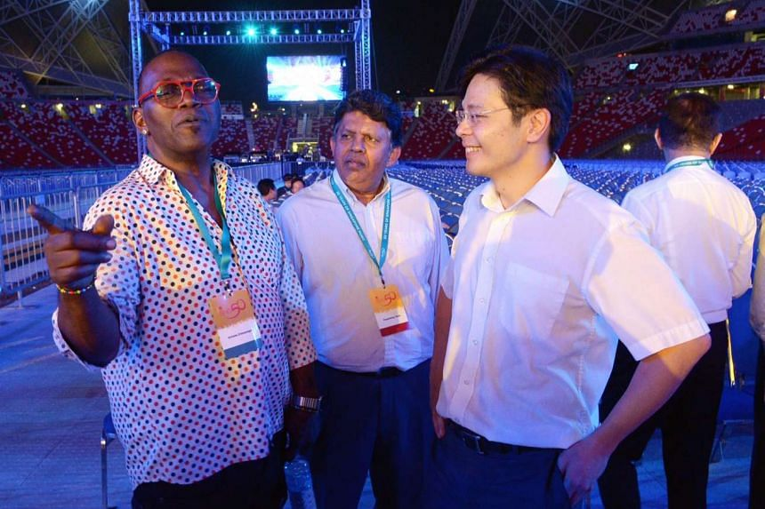 American musician Randy Jackson(left) with Patrick Daniel, Editor-in-Chief of the English/Malay/Tamil Media Group, SPH, and Minister for Culture, Community and Youth Lawrence Wong(right) at a rehearsal for the Sing50 concert.