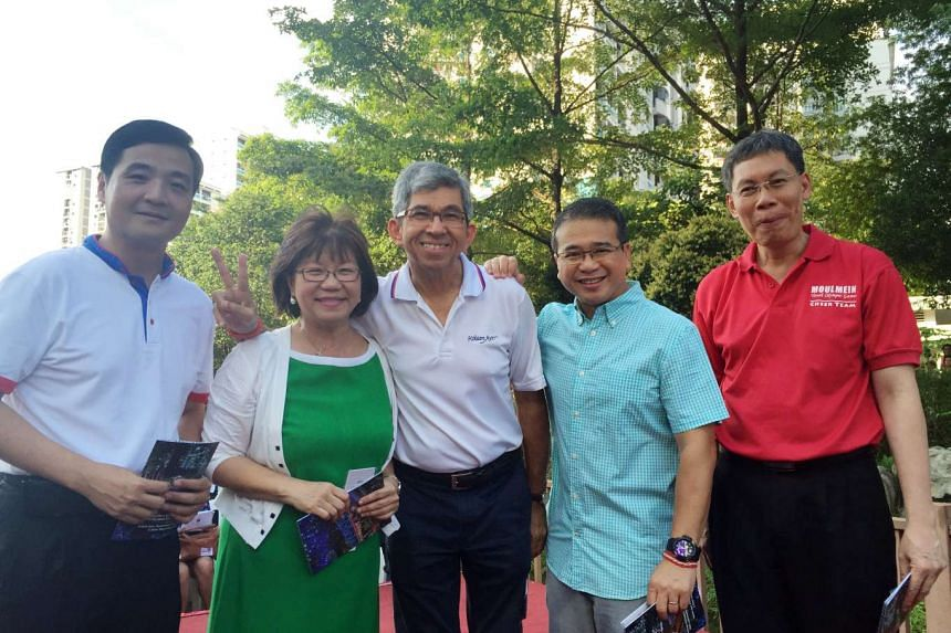 (From right) Moulmein-Kallang GRC MPs Lui Tuck Yew, Edwin Tong, Yaacob Ibrahim and Denise Phua with Whampoa's Heng Chee How.