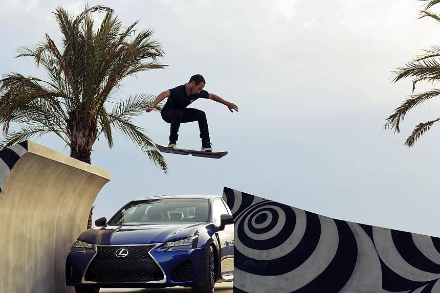 Lexus' hoverboard was tested over a track laid with magnets in Barcelona.
