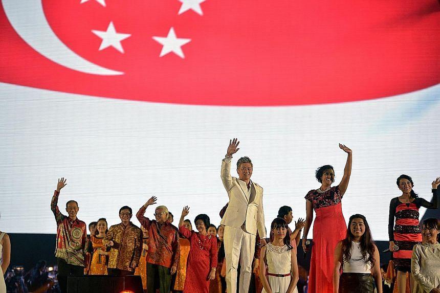 Guests including (background, from left) Singapore Press Holdings chairman Lee Boon Yang, Education Minister Heng Swee Keat, President Tony Tan Keng Yam and Mrs Mary Tan, and artists (foreground, from left) Dick Lee and Rani Singam, after the final n