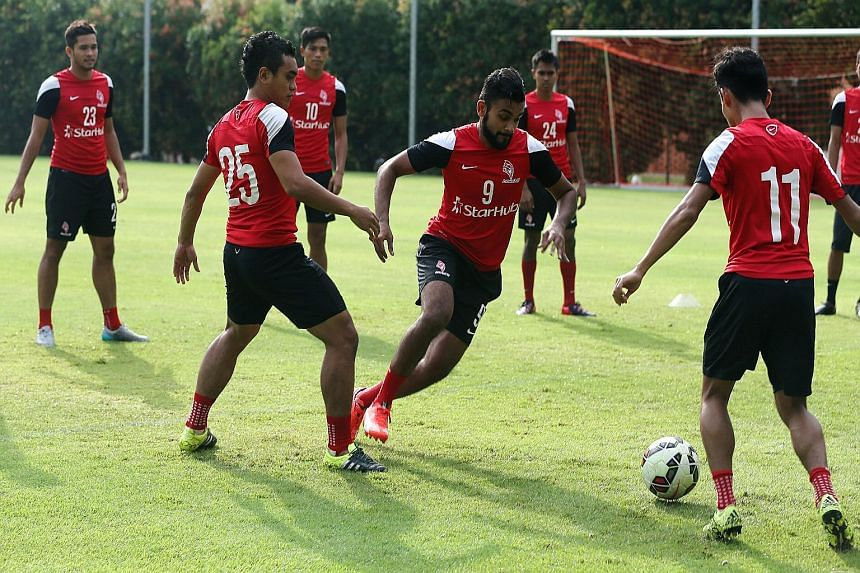 The LionsXII, with Faritz Hameed (No.9), Nazrul Nazari (11) and Sufian Anuar (25) in training, will defend their stellar home record at Jalan Besar tonight against Pahang.