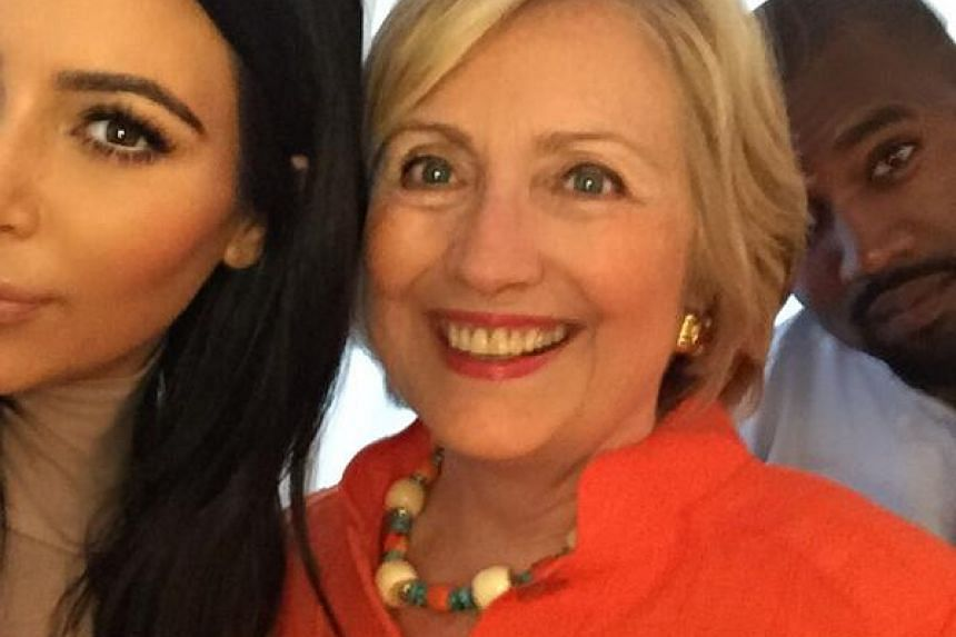 Kim Kardashian and husband Kanye West with US presidential hopeful Hillary Clinton.