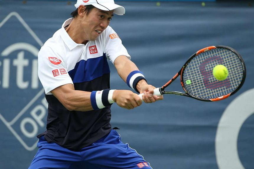 Kei Nishikori of Japan during the Citi Open on Aug 7, 2015.