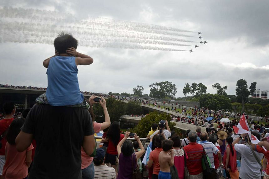 The six Black Knights will perform 22 manoeuvres in the skies just off the Marina Barrage.