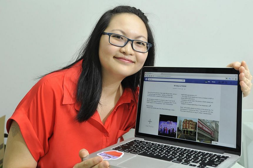 Ms Natalie Lim poses with her laptop to show her Facebook page with photographs of SG50 celebrations.