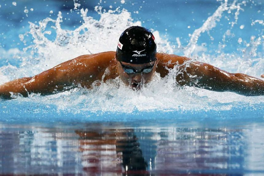 Schooling competes in the men's 100m butterfly semi-final.