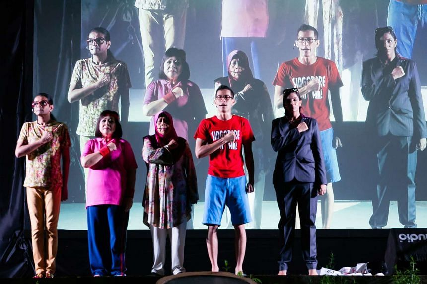 (From left) Kumar, Koh Chieng Mun, Zaliha Hamid, Shane Mardjuki and Sharul Channa deliver comic sketches on communal life in Kumar's Living Together.