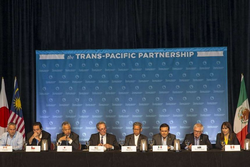 The twelve TPP Ministers holding a press conference to discuss progress in the negotiations in Hawaii on July 31, 2015.