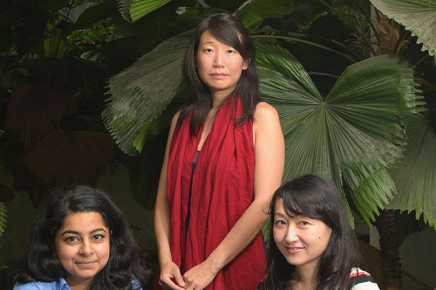 (From far left) Poet Pooja Nansi, novelist Madeleine Thien and author Yeo Wei Wei.