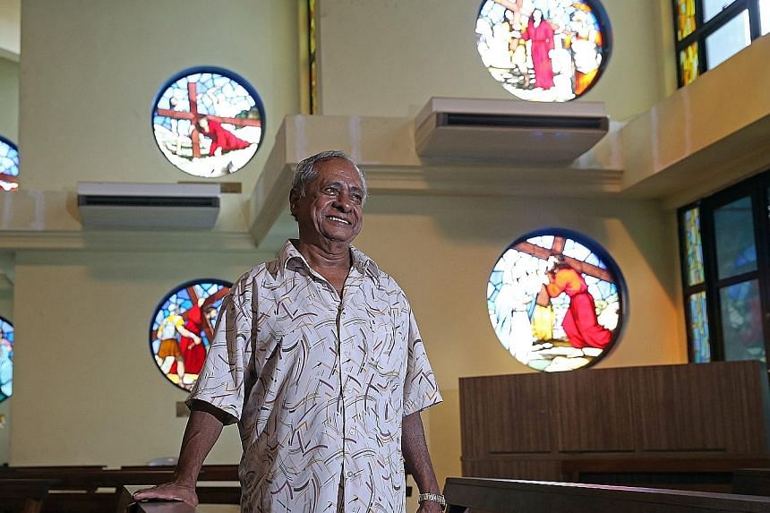 Mr Henry Leo, 72, in the Church of St Michael. The devout Catholic passes his days going to church, painting, tending to the plants on his balcony and repairing knick-knacks and trinkets for friends. He is a repository of many Eurasian recipes now al