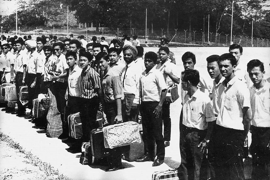 Some of the young men who would become Singapore's first batch of locally trained officer cadets, waiting to go to the Pasir Laba camp. The batch produced five generals, including former defence chiefs Lieutenant-General (Retired) Winston Choo and Lt