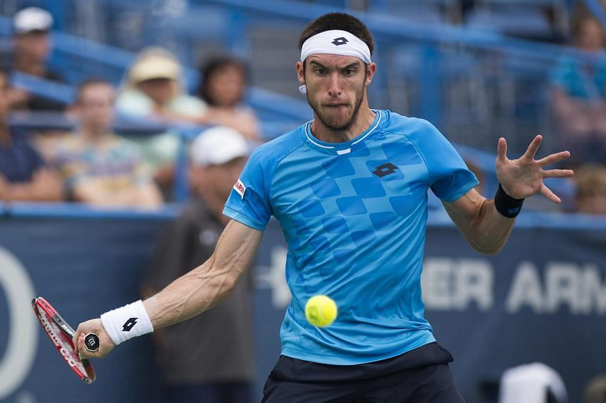 Argentina's Leonardo Mayer in action against Japan's Kei Nishikori during their third round match at the ATP Citi Open tennis tournament in Washington, DC, USA on Aug 6, 2015.