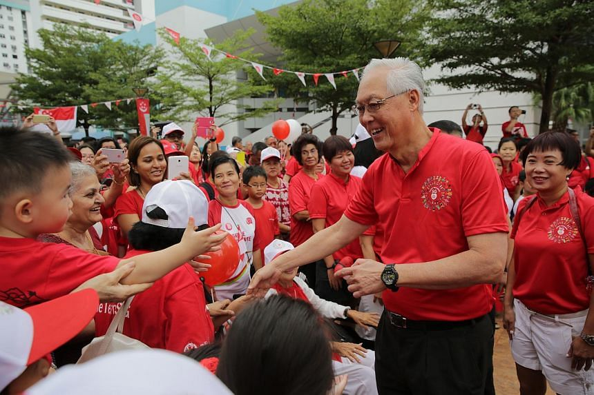 ESM Goh Chok Tong arriving at the National Day Observance Ceremony held at Marine Parade on Sunday morning.
