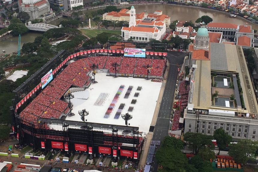 The marching contingents have formed up and are awaiting the arrival of President Tony Tan. ST PHOTO: CAROLINE CHIA